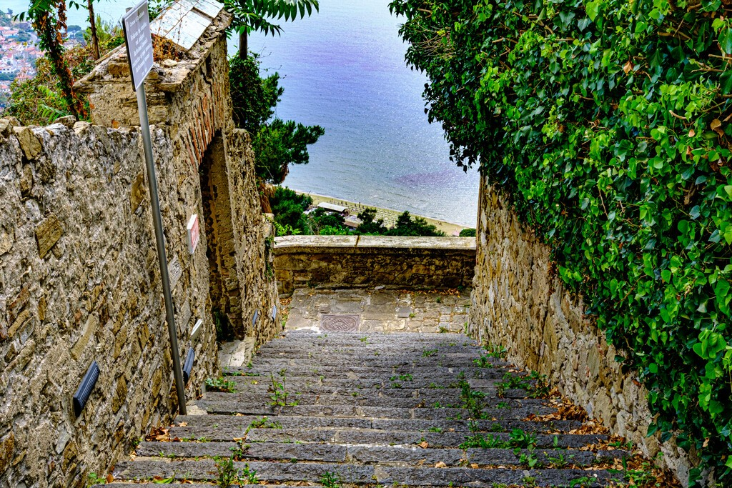 Castellabate, Salerno, Italy. Country lane with stairs and green plant and sea