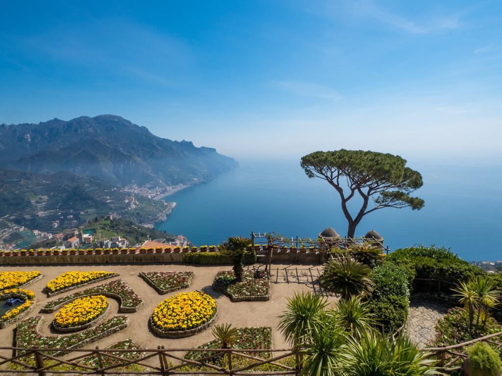 Italy, april 2019: Beautiful scenic picture-postcard view of famous Amalfi Coast with Gulf of Salerno from Villa Rufolo gardens in Ravello, Campania