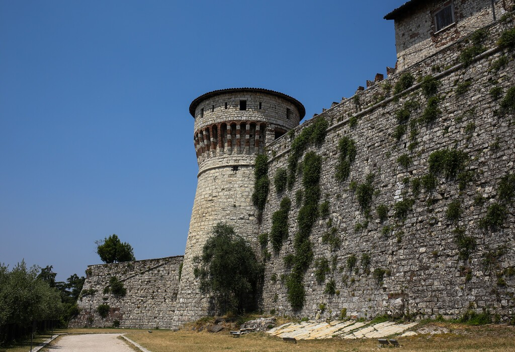 """ITALY, BRESCIA: Castle of Brescia, Via del Castello, the ancient part of Brescia. Called the """"Falcon of Italy"""", one of the largest fortified complexes with 75,000 square metres enclosed within walls"""
