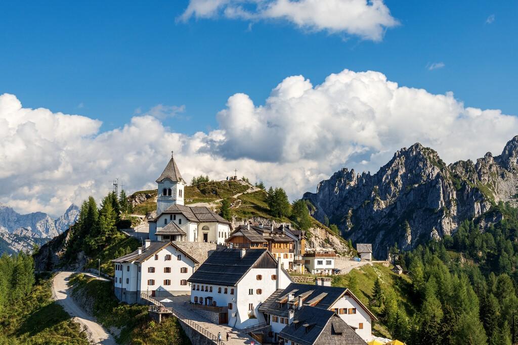 Lussari village or Monte Santo di Lussari (1790 m) with the Cima del Cacciatore (Peak of the Hunter), Julian Alps, Camporosso in Valcanale, Tarvisio, Udine, Friuli Venezia Giulia, Italy, Europe.