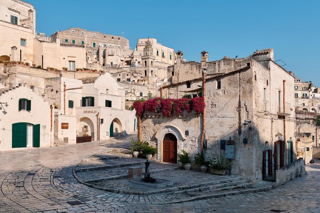 MATERA, BASILICATA, ITALY - 7 September, 2019 - View of the stone city of Matera at via Fiorentini, Unesco heritage city and european capital of culture 2019.