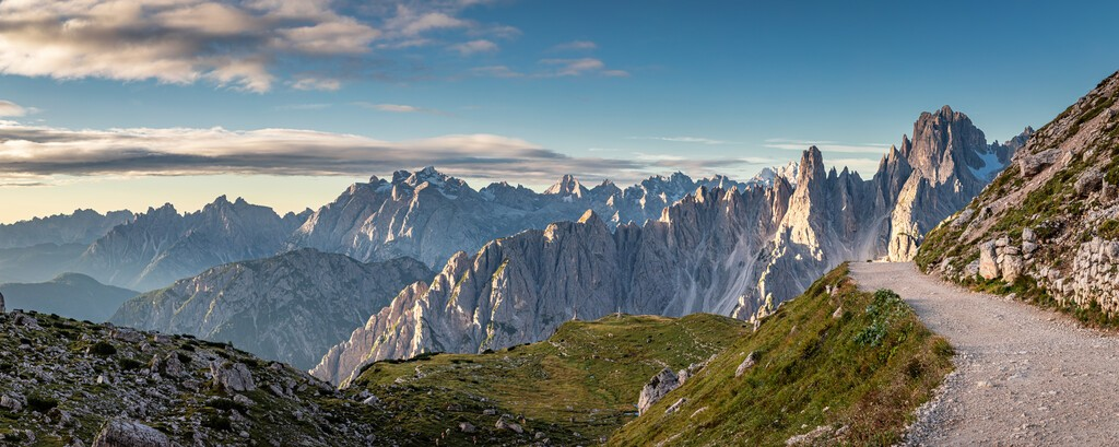 Panorama of mountains trail to Tre Cime in Dolomites, Italy