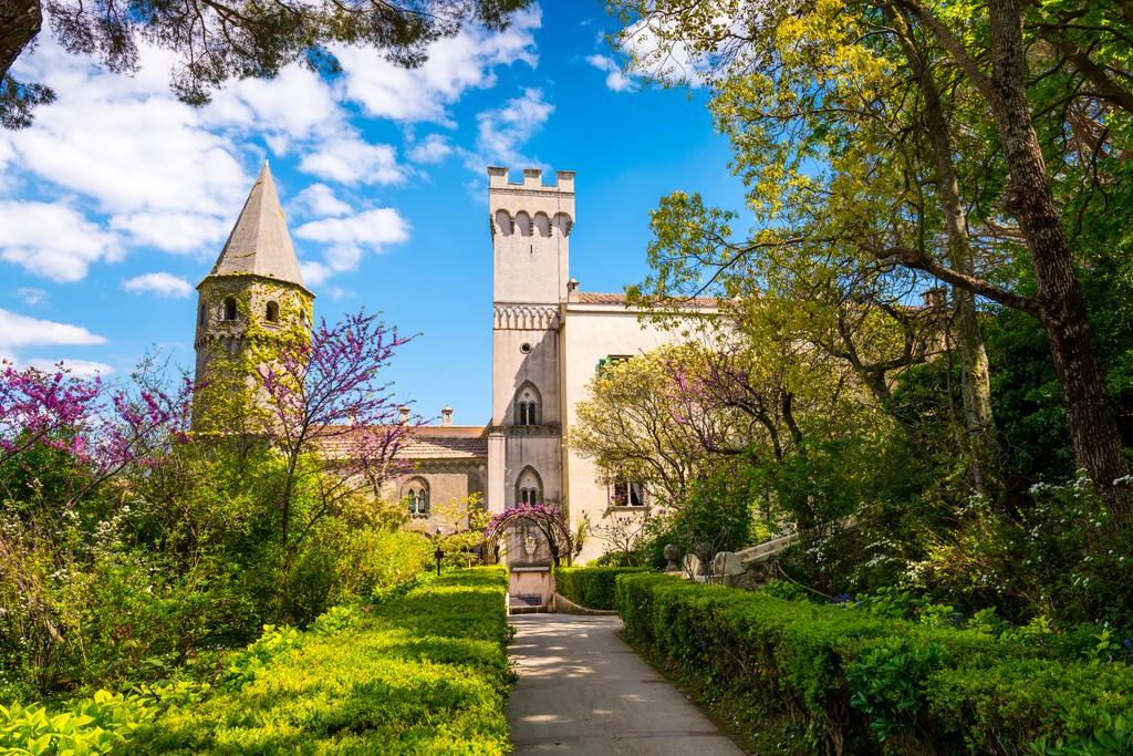 Ravello, Italy - April 19, 2019: View of the Villa Cimbrone with garden, Amalfi coast, Italy.