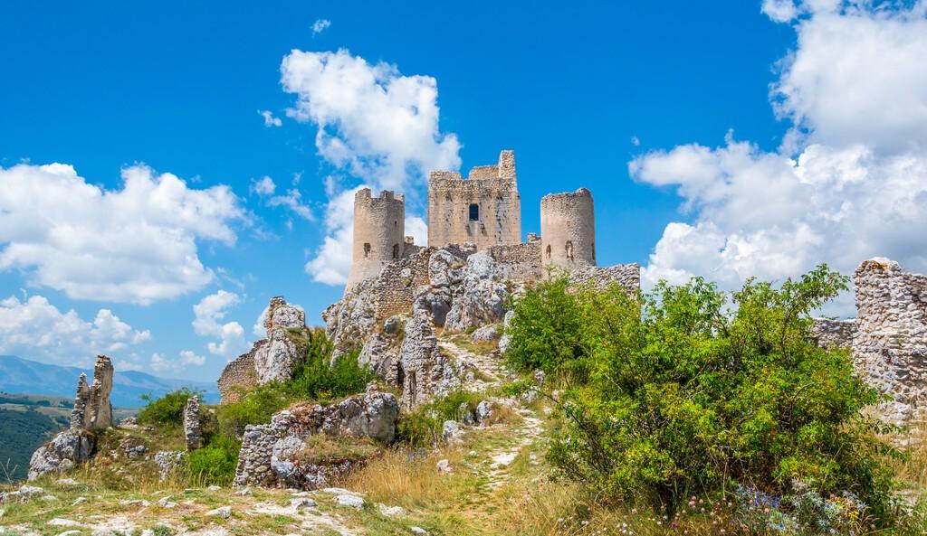Rocca Calascio, mountaintop fortress or rocca in the Province of L'Aquila in Abruzzo, Italy.