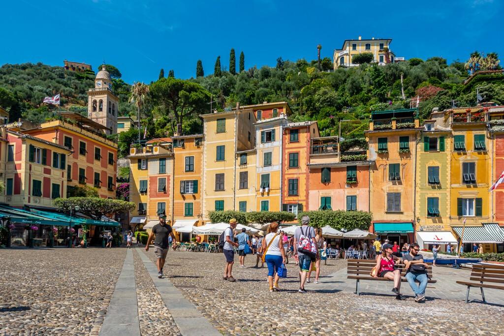 Santa Margherita Ligure, Italy 07.20.2019. A small Italian fishing village, close to Genova and Portofino. Cityscape, market, seaside, port, people