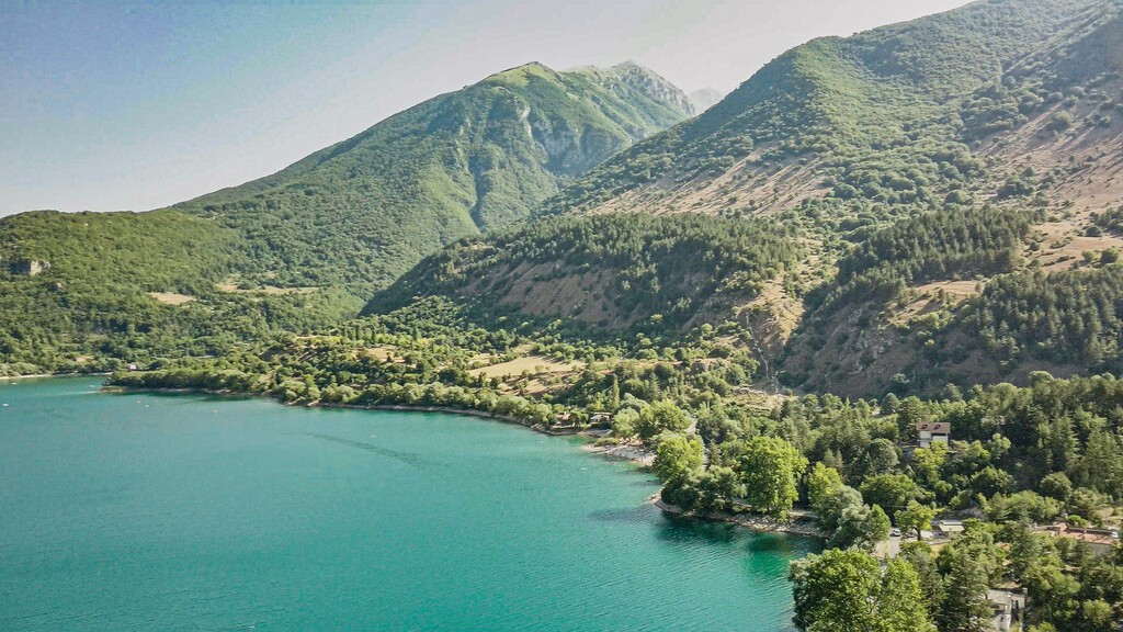 Scenic sight in Scanno lake, province of L'Aquila, Abruzzo, central Italy.