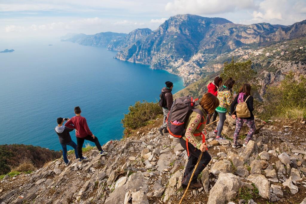"Sentiero degli Dei (Italy) - Trekking route from Agerola to Nocelle in Amalfi coast, called ""The Path of the Gods"" in Campania, Italy"