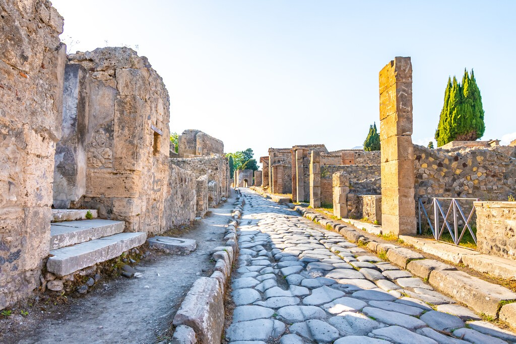 Street in Pompeii, Italy. A World Heritage Site. 29 July 2020.