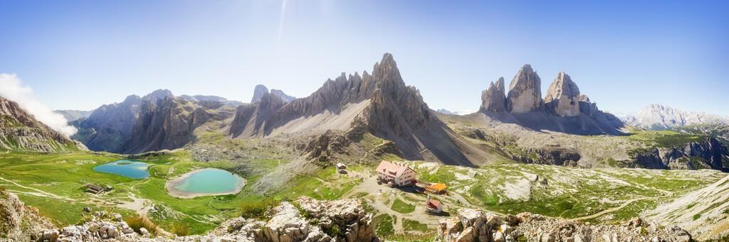 Tre Cime di Lavaredo Locatelli refuge (Three Peaks of Lavaredo or Drei Zinnen) national park summer landscape.