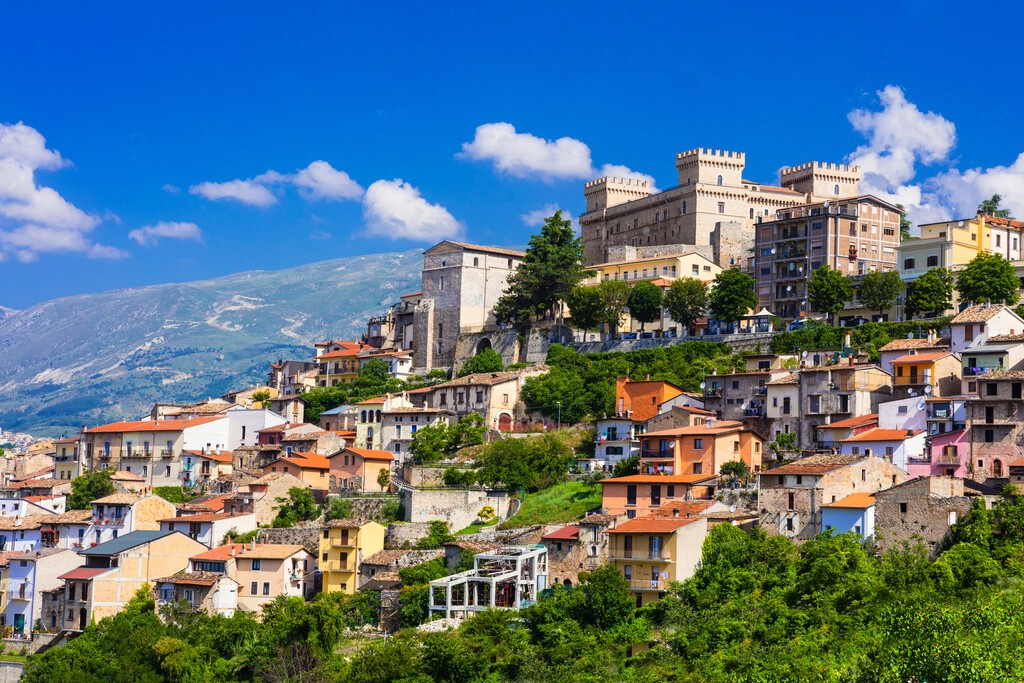 view of medieval town Celano, Province of L'Aquila, Abruzzo, Italy